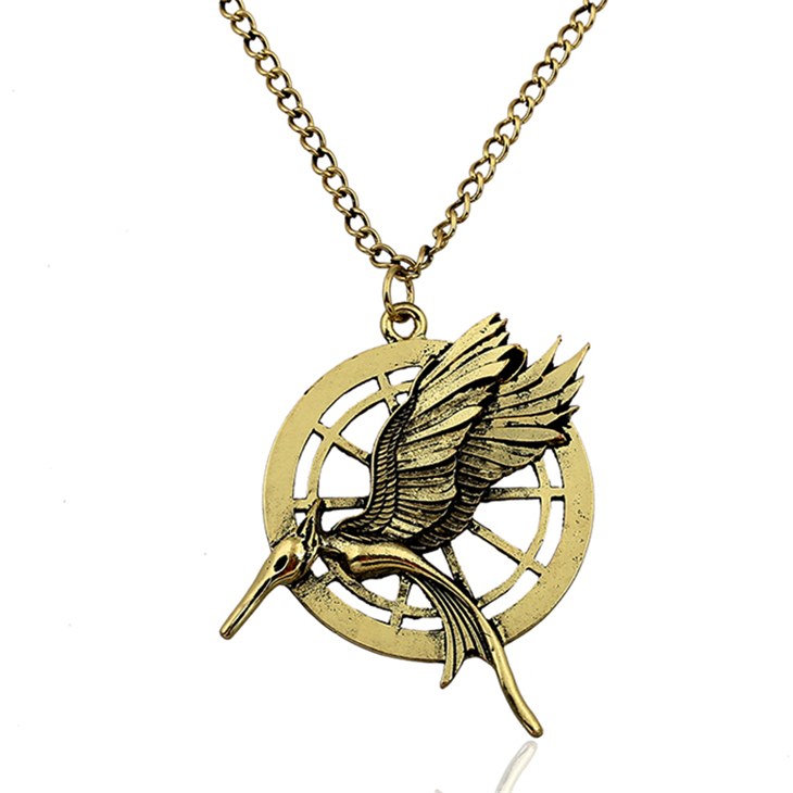 <font><b>the</b></font> hunger games 2 <font><b>catching</b></font> <font><b>fire</b></font> bird necklace vintage retro two sides big pendant for men and women wholesale