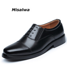 Misalwa 2019 Brand Black Dress Shoes For Men Square Toe Gentlemen Leather Formal Business Office Wedding Slip On Flat