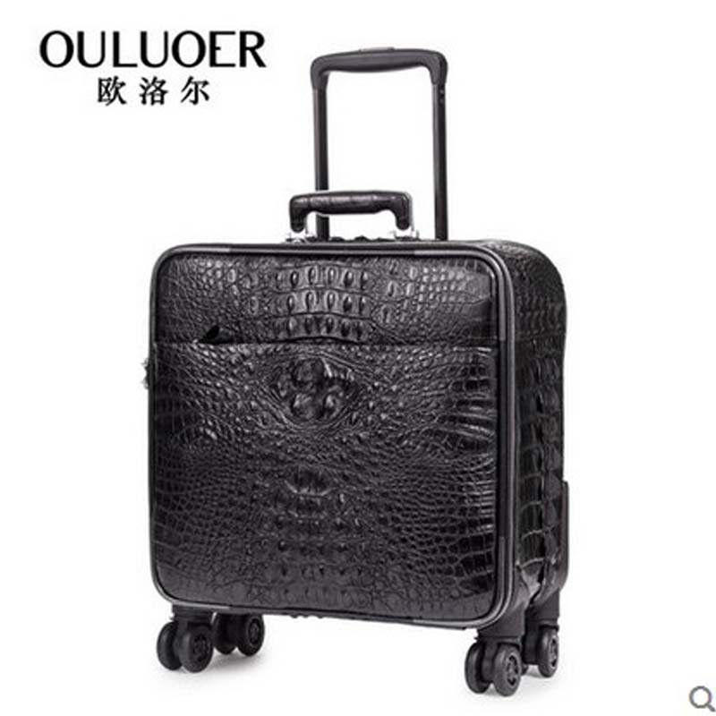ouluoer Alligator leather suitcase password leather suitcase pull rod box man wheel 18 - inch boarding box crocodile eather 12 inch pu leather small suitcase floral decorative box with straps for women
