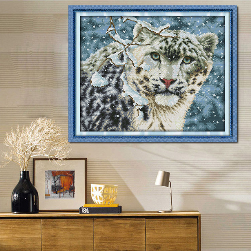 Free Ship Snow Leopard Counted Cross Stitch DMC 11CT 14CT Cross - Arts, Crafts and Sewing - Photo 2