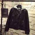 Women PU Jackets Casual Plus Size 3XL 4XL 5XL Short Style Pocket Zipper Hooded Jacket Black Outerwear QYL81