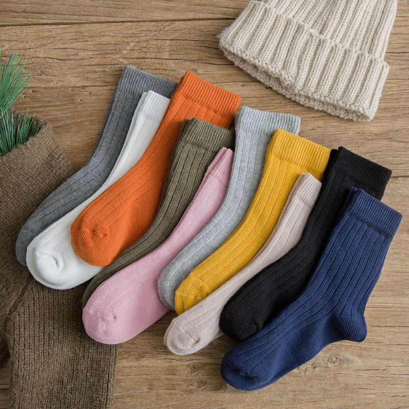 New Harajuku Retro Women Cotton Loose   Socks   For Autumn Winter In Tube Korean Pure Color Yellow Designer Christmas Cute