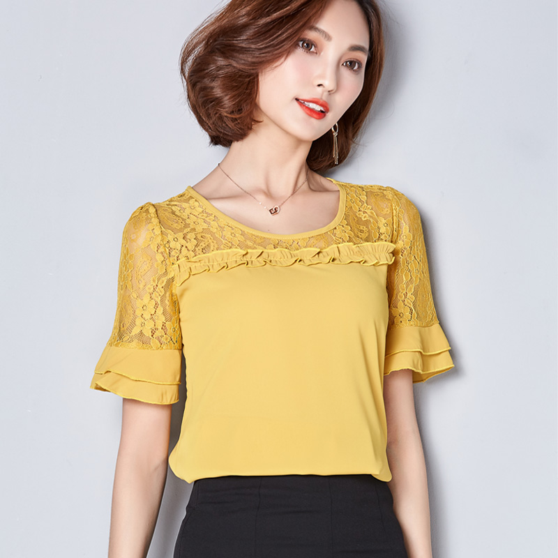 HTB1h zrPVXXXXXOXFXXq6xXFXXXG - Women Blouses Summer Lace Chiffon Feminina Tops Fashion