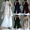 ZANZEA Plus Size 5XL 2017 Women Oversized Cotton Linen Blouse O Neck Long Sleeve Blusa Split