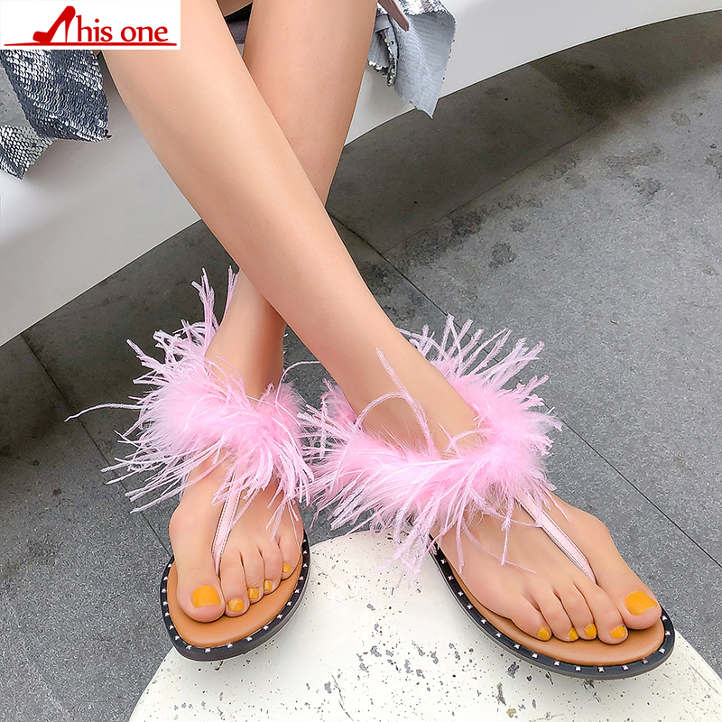 Fur Furry Sweet Feather Flat Bottom Beach Female Sandals Hair Flip Flops Women Home Slippers Outside Shoes Real feather