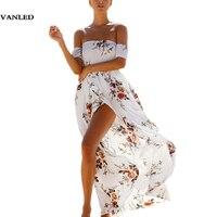 VANLED Drukuj Floral Kobiety Letnia Sukienka Plaża Maxi Sukienki Maxi Długi Szyfonu Czeski Boho Style Off Shoulder Otwórz Widelec Vestidos