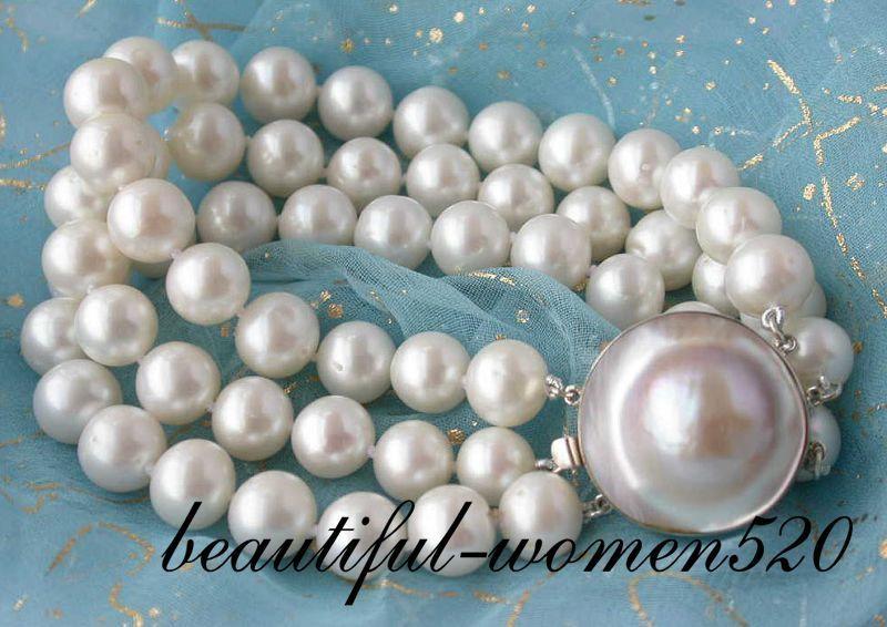 Z2039 3row 10mm round white fw pearl bracelet mabe silver claspZ2039 3row 10mm round white fw pearl bracelet mabe silver clasp