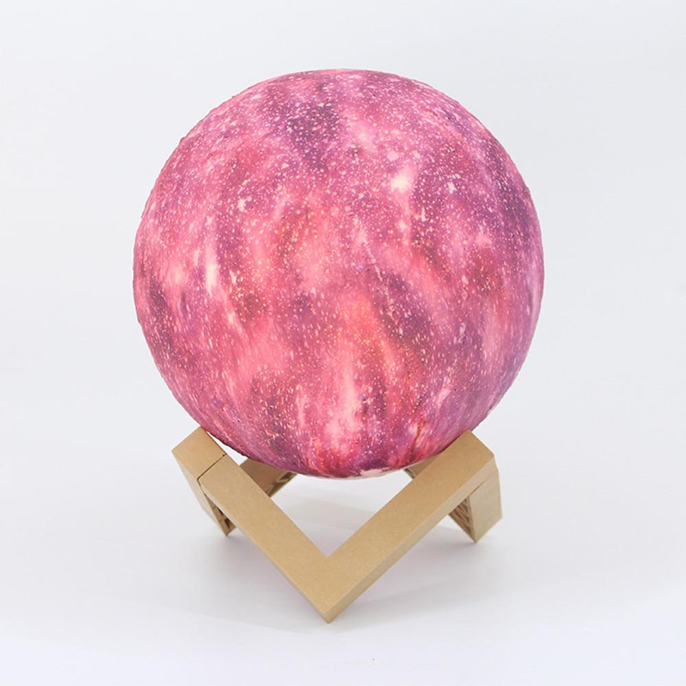 Livraison directe créative 22 CM 3D impression étoile lune lampe USB enfants veilleuses 16 couleurs changement tactile et télécommande Galaxy lampe