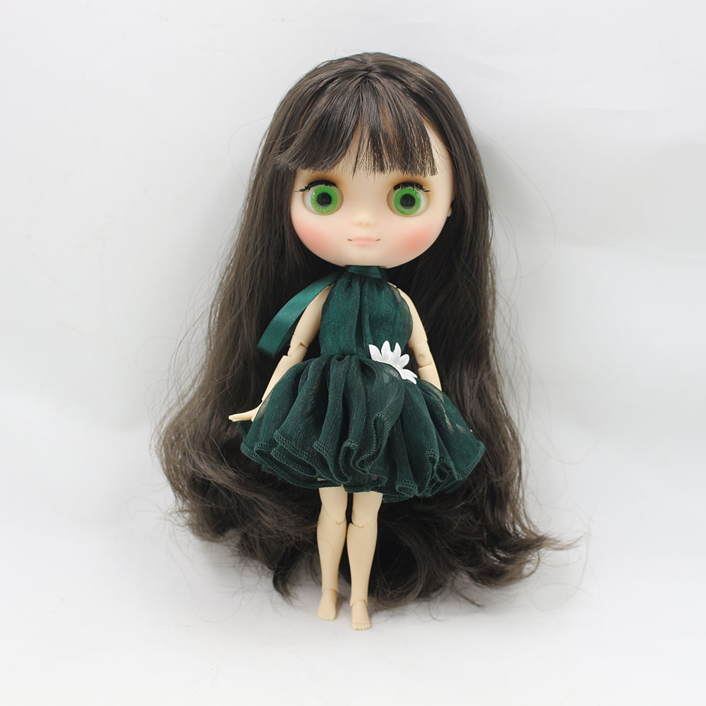 No.210BL950 Nude middie blyth joint doll Black hair Transparent face suitable DIY gift for girl like the icy doll middle blyth