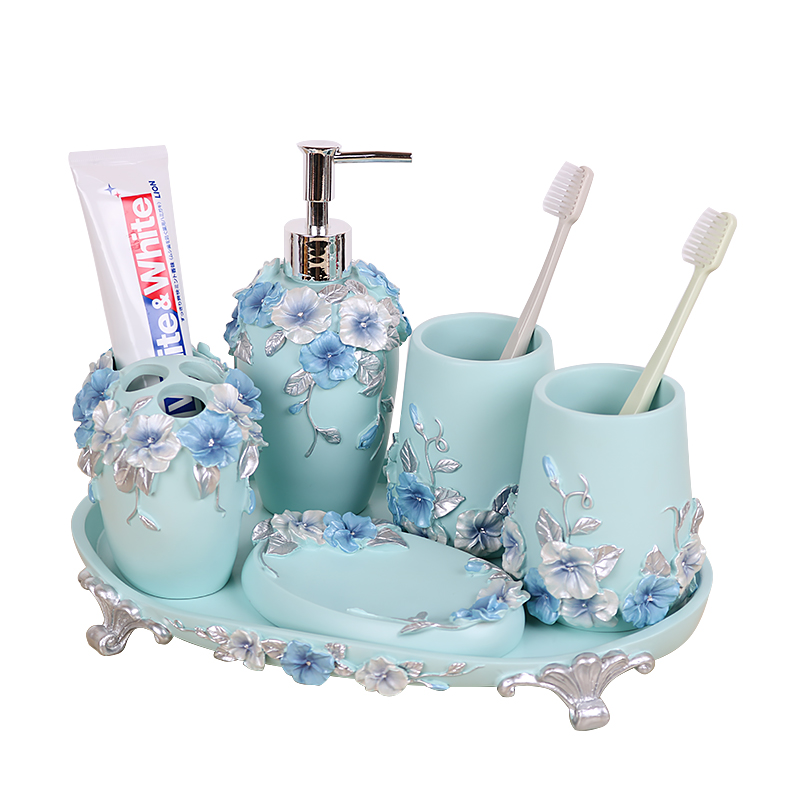 Brief modern bathroom five pieces set resin fashion household wash cup bathroom supplies kit toothbrush holder set image