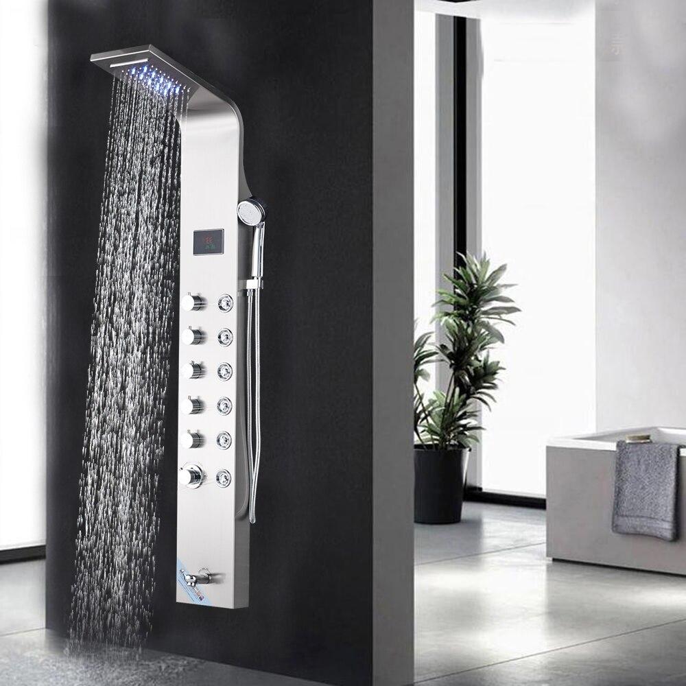 Ванная Комната Дождь водопадом, Душ панели Матовый никель Waterall тропический душ LED Panle Дождь Массаж системы струй