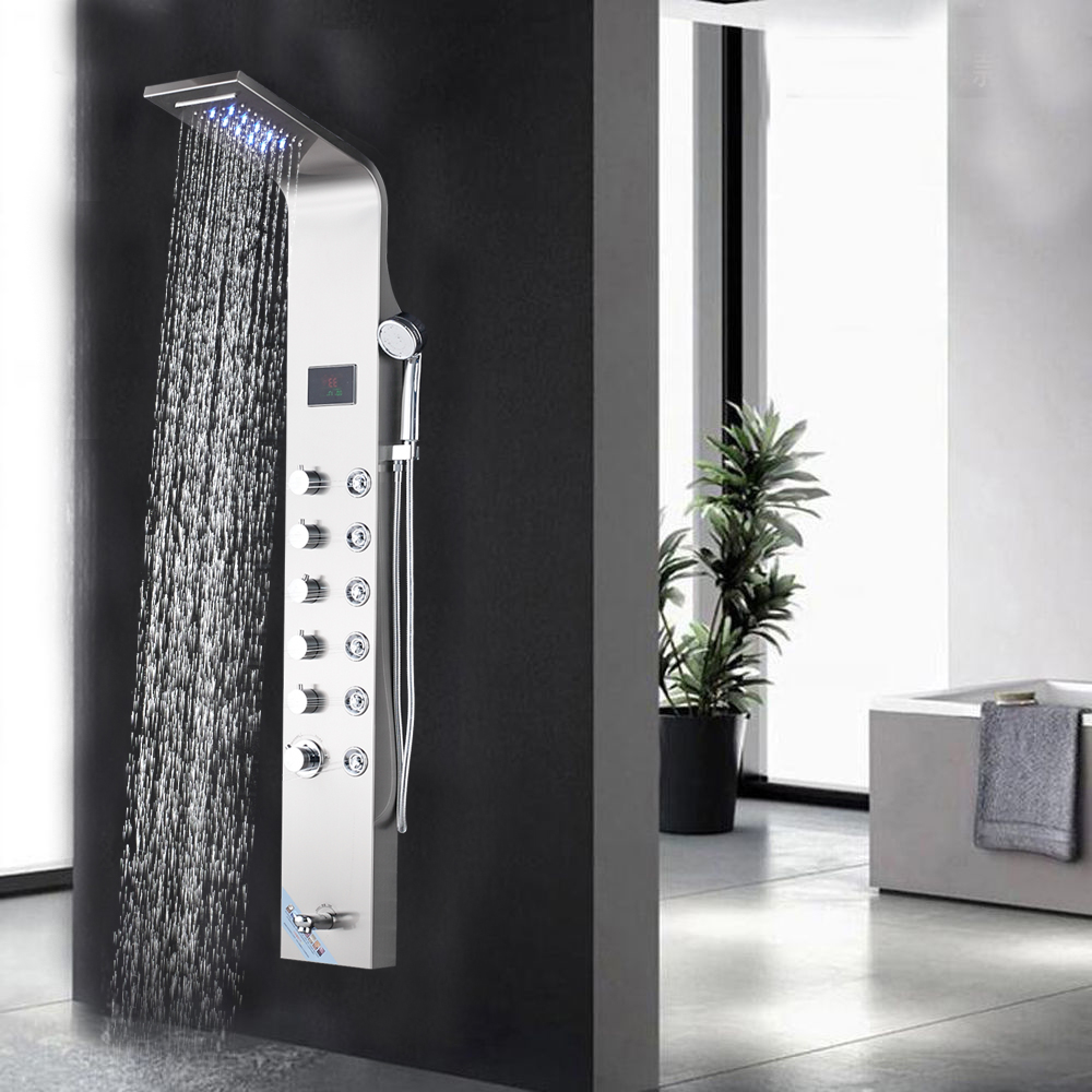 Bathroom Rain Waterfall Shower Panel Brushed Nickel Waterall Rain Shower Panle LED Rain Massage System Jets clouds without rain