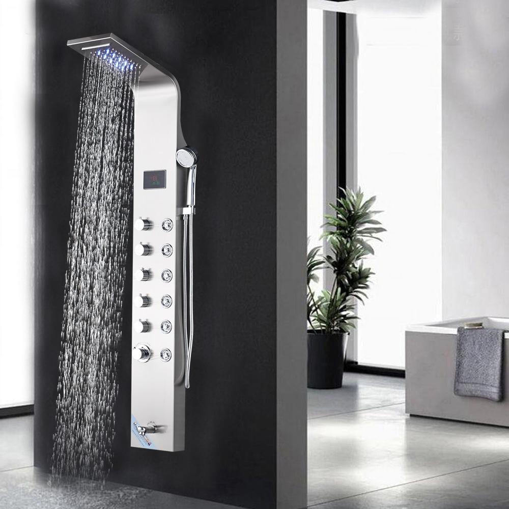Salle de bains Pluie Cascade Panneau De Douche Brossé Nickel Waterall Pluie Douche Panle LED Pluie Système De Massage Jets