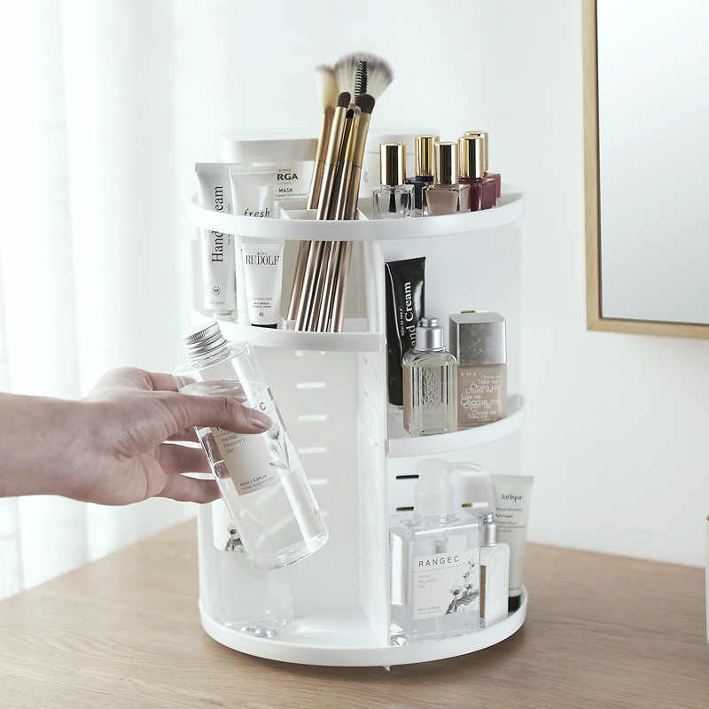 [Video] Fashion 360-degree Rotating Makeup Organizer Box Brush Holder Jewelry Organizer Case Jewelry Makeup Cosmetic Storage Box