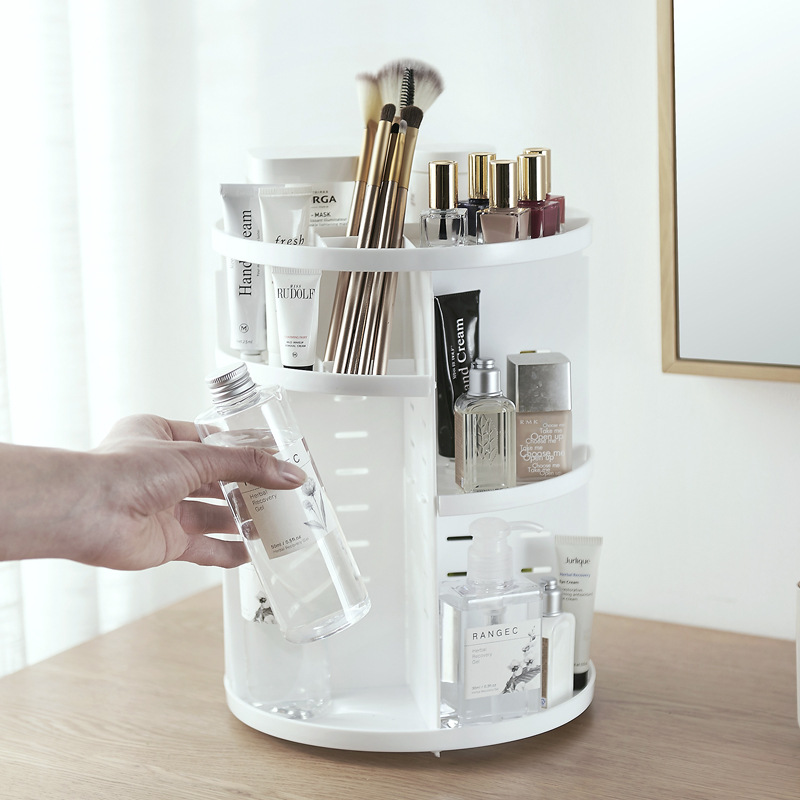 Caja organizadora de maquillaje giratoria de 360 grados, caja organizadora de brochas, caja organizadora de joyería, caja de almacenamiento de cosméticos para maquillaje