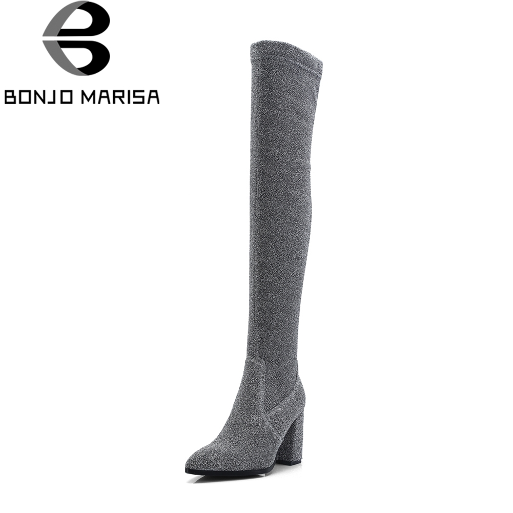 BONJOMARISA Large Size 32-42 Fashion slip-on Strech Over The Knee Thigh High Boots Women Autumn 2018 High Heels Shoes Woman цена
