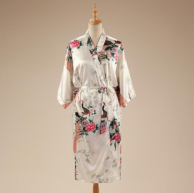 White Print Peacock Flower Summer Robe Gown Chinese font b Women s b font Satin Bathrobe