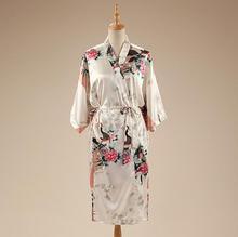 White Print Peacock&Flower Summer Robe Gown Chinese Women's Satin Bathrobe Nightgown Kimono Yukata Long Dress Plus Size NR217