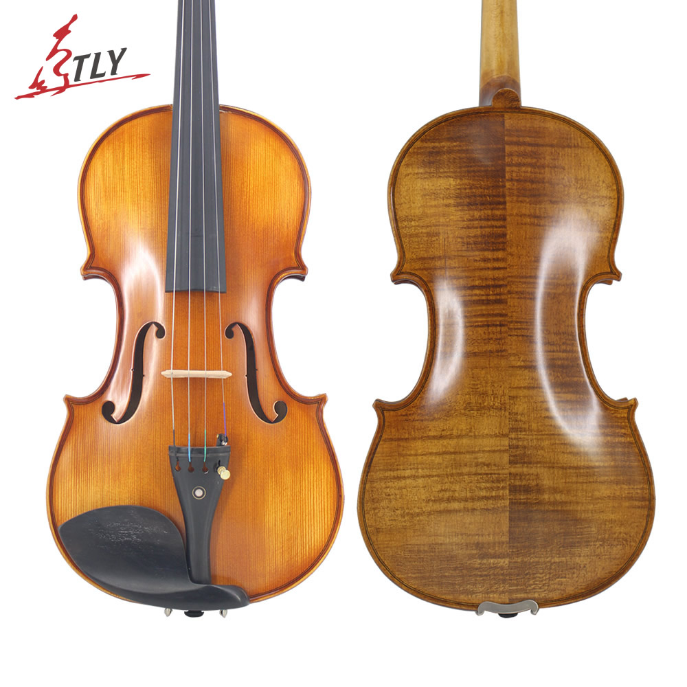 TONGLING New Natural Flamed Maple Violin Full Size Hand-craft Violin Stringed Musical Instrument Ebony Fitted w/ Case Bow Rosin 4 4 high grade full size solid wood natural acoustic violin fiddle with case bow rosin professional musical instrument