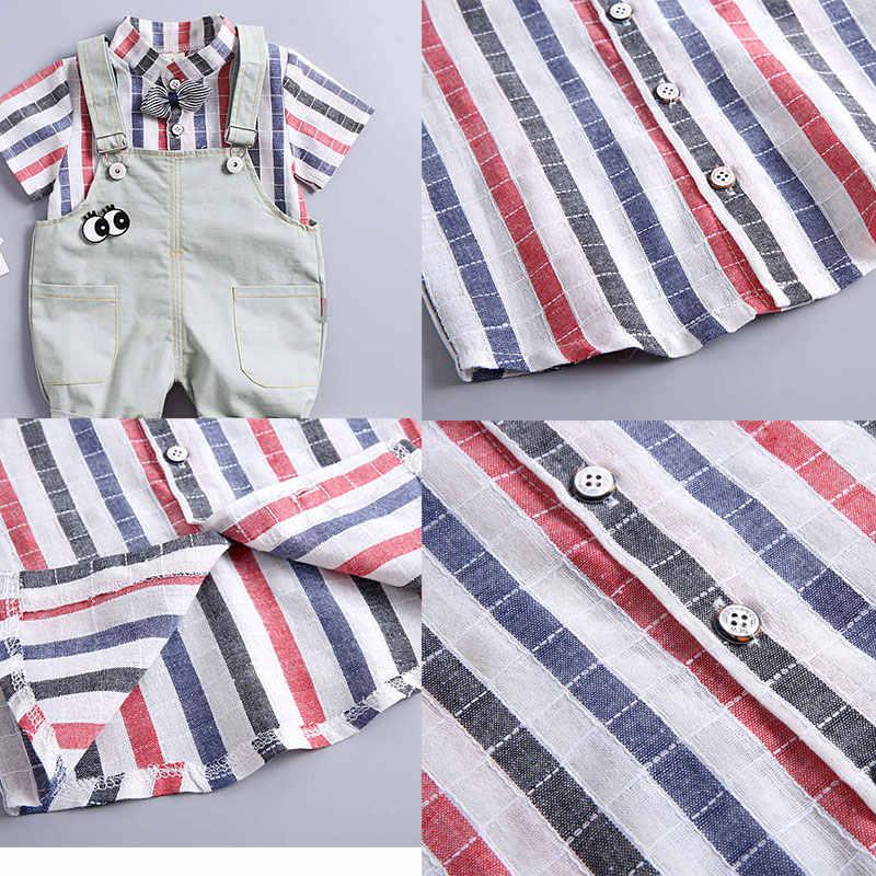 男の子の服セット 2019 夏新子供男の子半袖ストライプトップ + リトル蜂ロンパース 2 個セット子供服