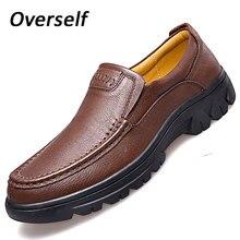 Мужские Корова кожаные ботинки люксовый бренд мужской скольжения на натуральная кожа формальных мокасины мокасины для мужчин большой размер 37-47 мужской обуви