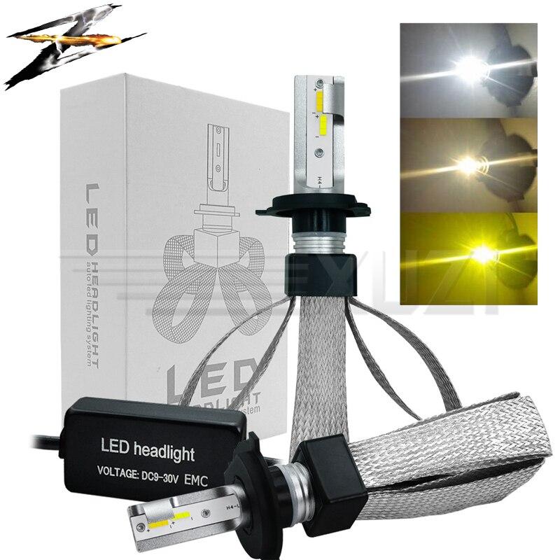T9 2 pcs 3 couleurs LED lumière De Voiture H1 H7 H11 9005 9006 H4 LED Phare Ampoules 80 w 9600LM 6000 k 4300 k 3000 k Auto Phare 12 v
