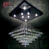 modern crystal chandelier square LED candelabro kristal lampe lustre living room lights lenght 80cm
