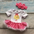 Nueva llegada de algodón tutu ropmer bebé niñas niños clothing blanco polka dot vestido de Pascua polluelo polluelo corta a juego con eadband conjunto