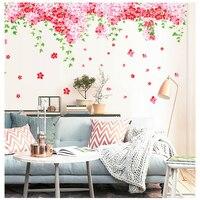 % 237x92 cm Roze Bloem groene bladeren waterdichte zelfklevende muurstickers home decor voor meisjes kamers woonkamer PVC muur papier