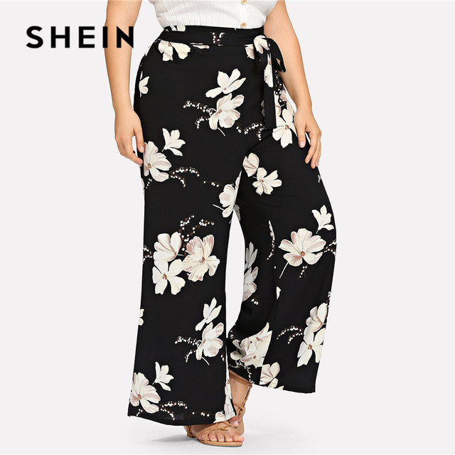 SHEIN Plus Size Black Belted Floral Print Wide Leg Pants 2019 Women Spring Summer Boho Knot Long Loose Trousers With Sashes 1