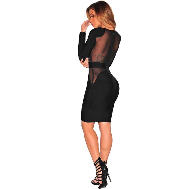 Black Mesh Splice Midi Bodycon Dress