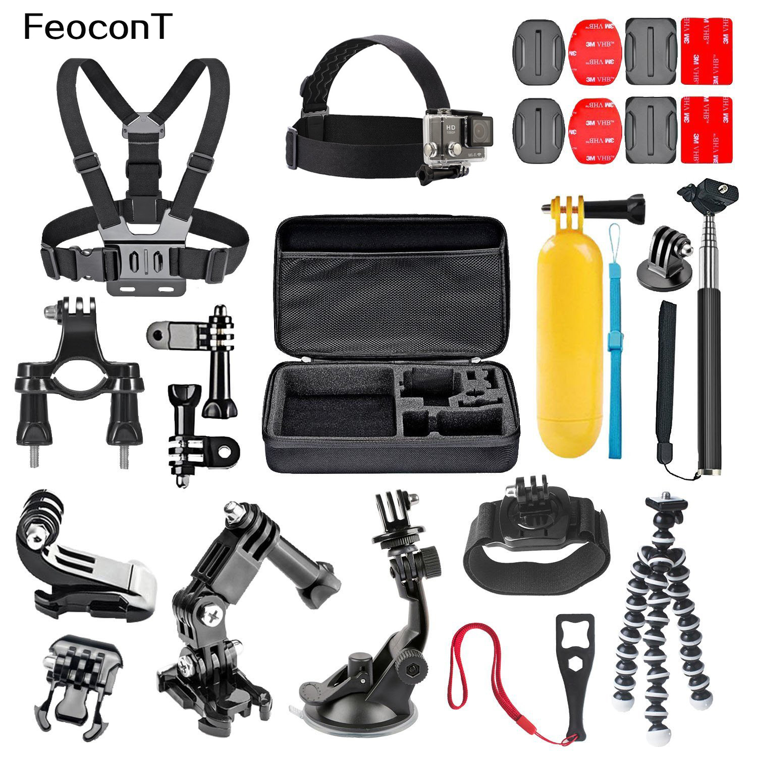 in Head Chest Mount Floating Monopod Accessories Kit For GoPro  Camera