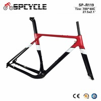 Новый 700 * 40C углерода рама с антигравийным покрытием Aero велокроссовый велосипед рамки углерода через дисковые тормоза ось Набор рам для дор...