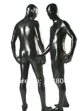 Black Fullbody Catsuit Shiny Metallic Zentai Suit