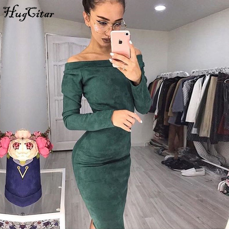 Hugcitar Suede Long Sleeve Off Shoulder Women Midi Bodycon Dress 2019 Autumn Winter Female Sexy Warm Party Clothes