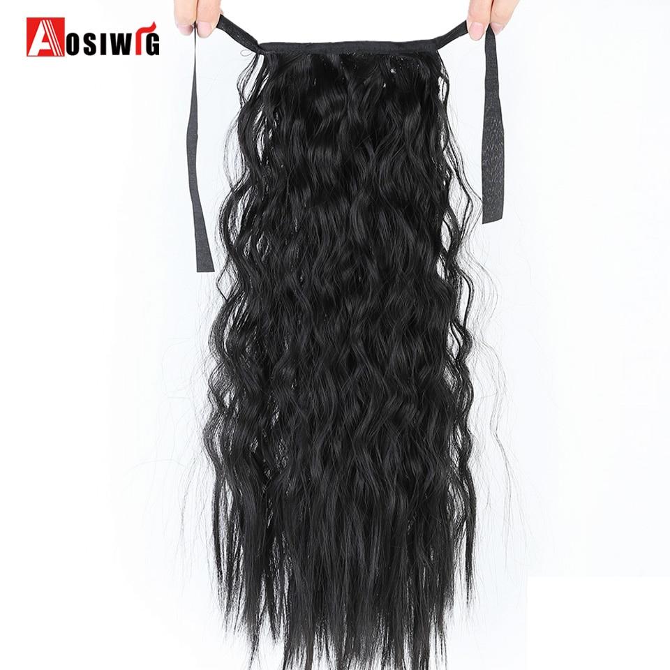 AOSIWIG ארוך מתולתל ג 'ונס מתולתל זנב שיער - שיער סינתטי