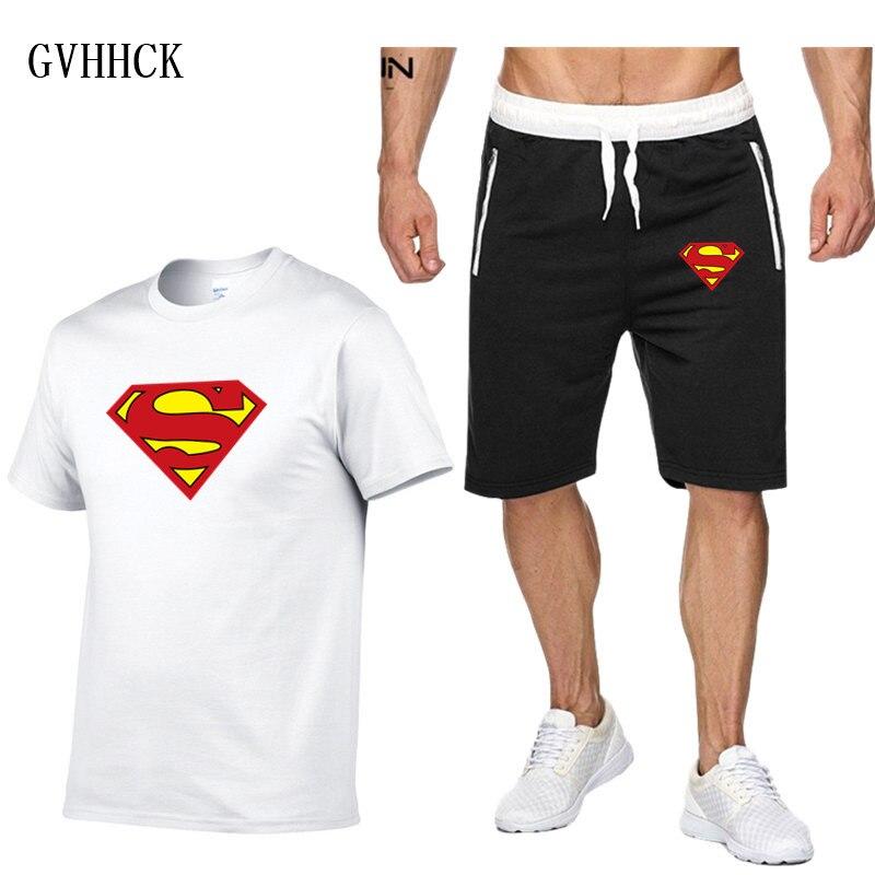 Мужской спортивный костюм, футболка с суперменом и шорты, дышащие, летние, 2019
