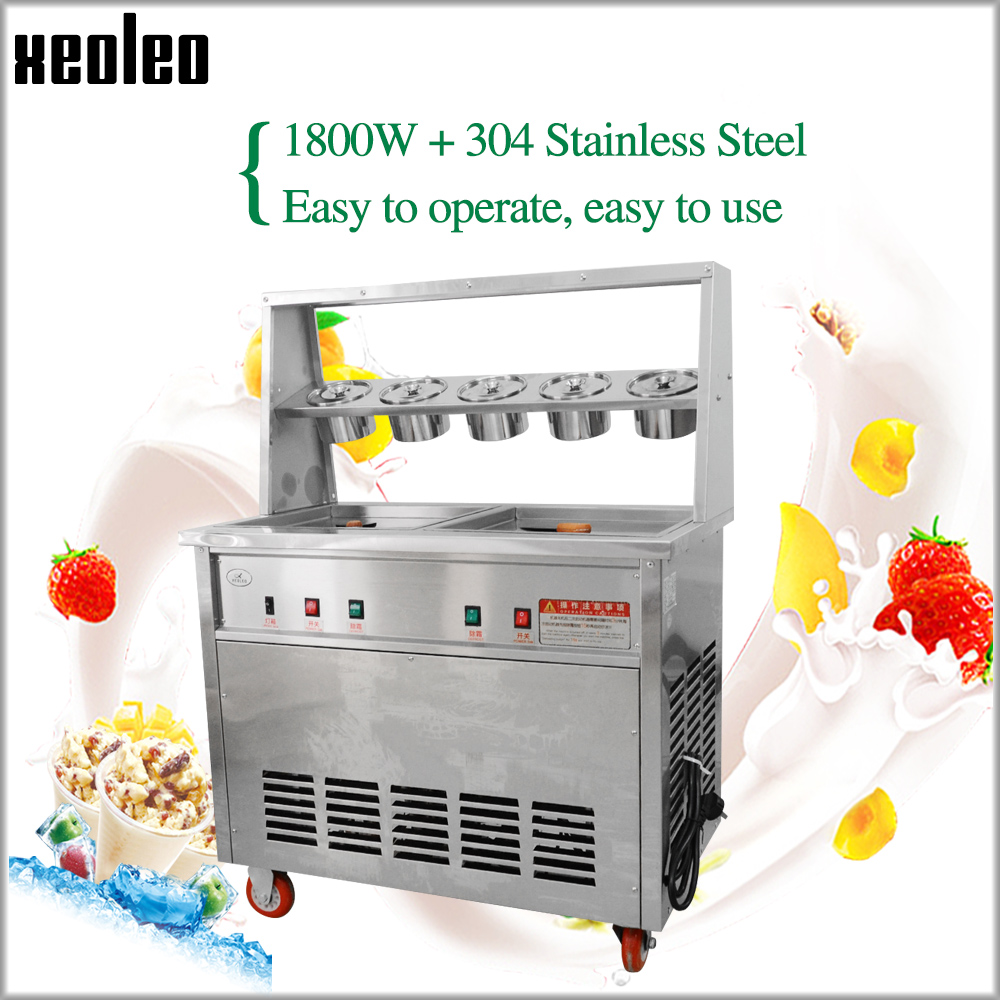 XEOLEO 1800W Rolo fabricante do creme de Gelo Dupla Potes De Gelo fritar máquina Frigideira máquina de Fritura Gelo CE fabricante de Iogurte com 5 baldes 220 V/110 V