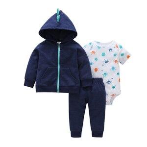 Image 3 - 秋の女服ハート柄コート & ジャケット + 手紙ロンパース + パンツ3枚の衣類のセット6 24m bebesの少年少女の衣装