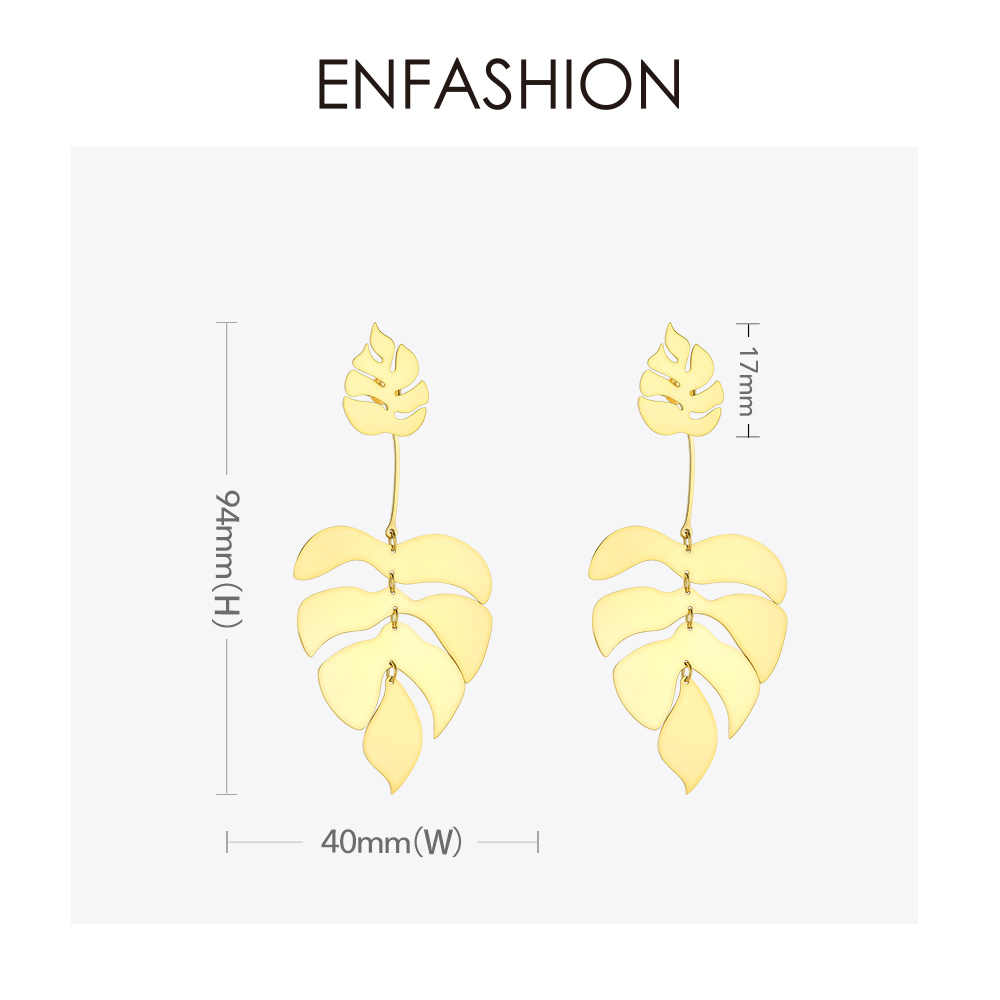 ENFASHION Hollow Monstera Leaf Drop ต่างหูสำหรับผู้หญิง Bling Bohemian Dangle ต่างหูแฟชั่น Statement เครื่องประดับวันหยุด EB191061