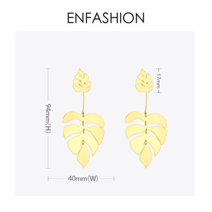 Image 5 - ENFASHION Hollow Monstera Leaf Drop Earrings For Women Bling Bohemian Dangle Earings Fashion Statement Holiday Jewelry EB191061