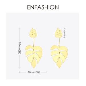 Image 5 - ENFASHION Hollow Monstera liść spadek kolczyki dla kobiet Bling czeski dynda kolczyki moda komunikat biżuteria wakacje EB191061