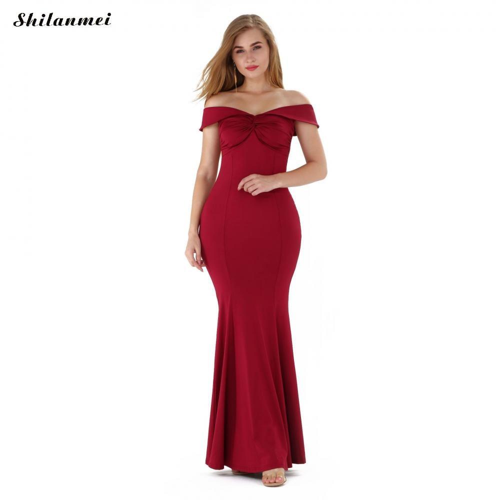 Off Shoulder Burgundy Maxi Dress Elegant Wedding Party Maxi Dress Prom Gown Long Bridal Dresses Solid Mermaid Maxi Long Dress