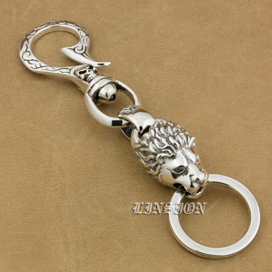 Huge Heavy 925 Sterling Silver Skull Hook Lion Mens Biker Rocker Punk Keychain Belt Clip 9T020 creative magic skull rubber keychain grey silver