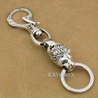 Huge Heavy 925 Sterling Silver Skull Hook Lion Mens Biker Rocker Punk Keychain Belt Clip 9T020