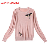 ALPHALMODA Crystal Brooch Pullovers Women Fashion Sweaters O neck Long sleeved Sparkling Stylish Female Bottom Pattern Jumpers