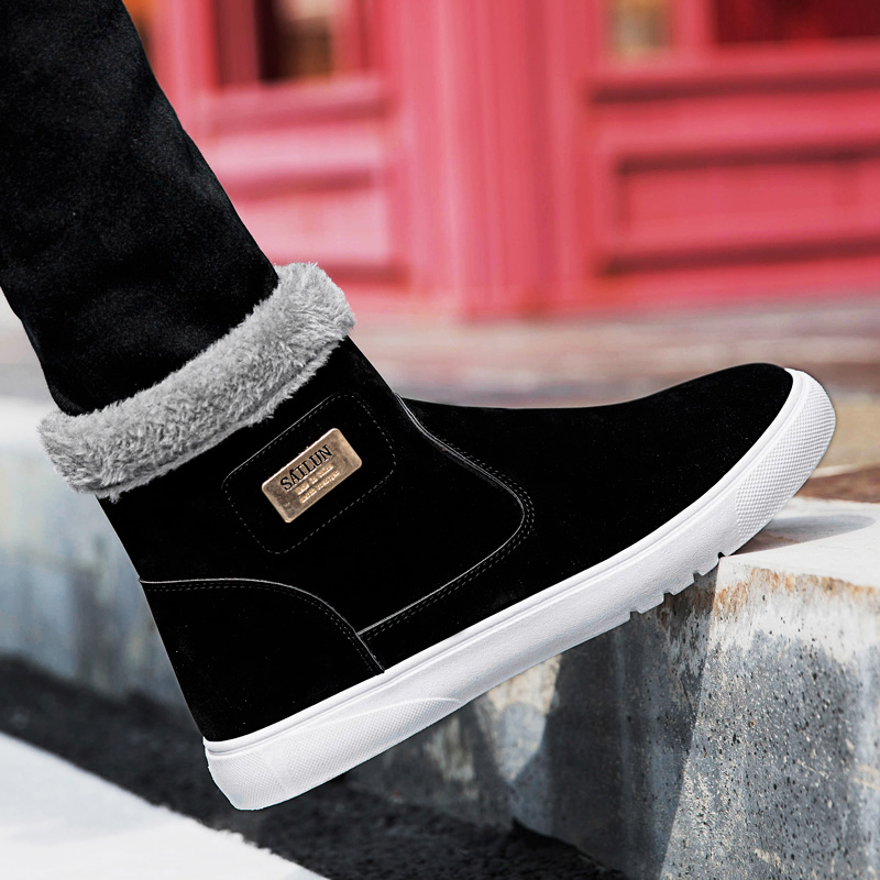 YRRFUOT Men  Winter Snow Boots Fashion Outdoor Plus Velvet Keep Warm Cotton Shoes Non-slip Comfortable Popular  Walking Shoes slip-on shoe
