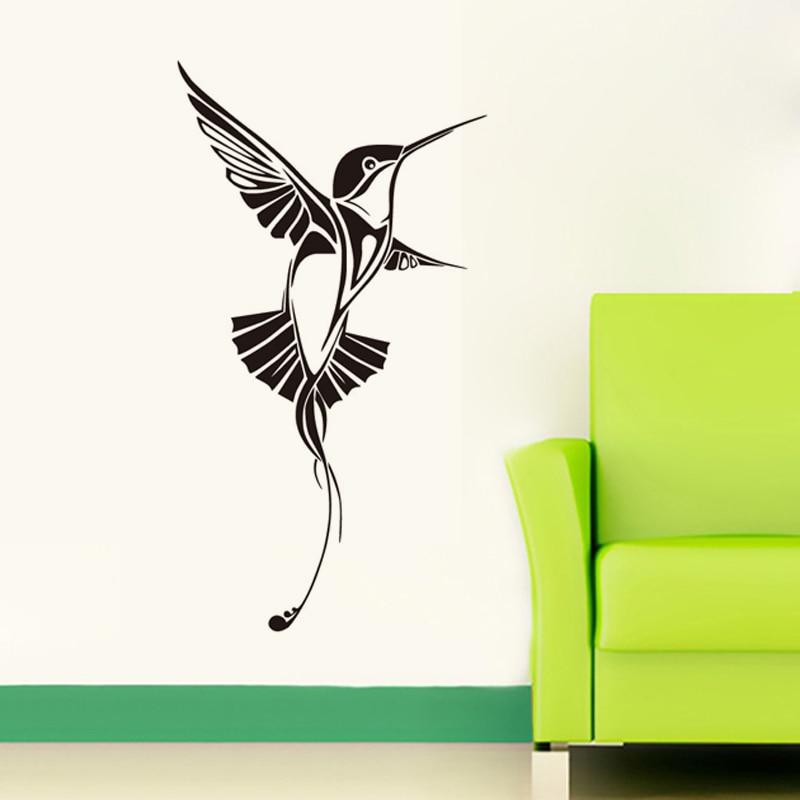 DCTOP Singing Hummingbird Wall Decals Bedroom Vinyl Wall Sticker Living Room Home Decor Bird Art Decals