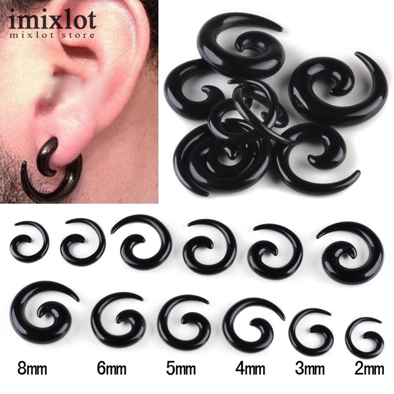 Wholes 6pairs 12pcs Black Acrylic Spiral Ear Gauges Large Size Tapers Stretching Plugs Expanders Pircing Jewelry In Body From