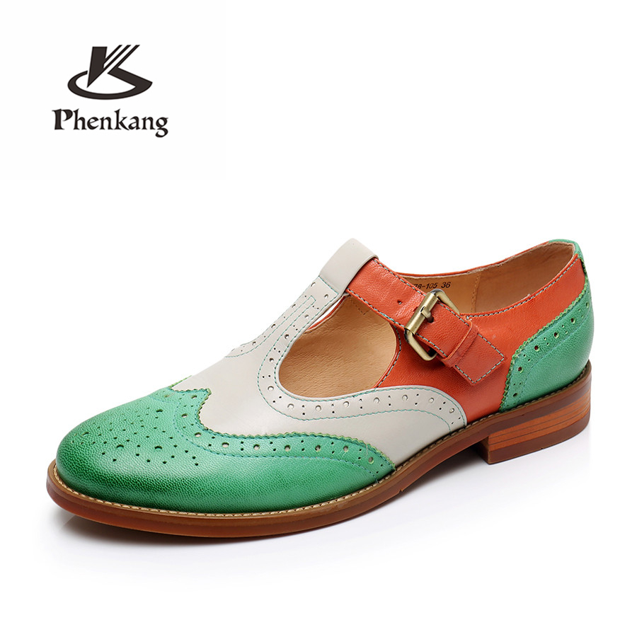 Women genuine leather brogues yinzo vintage flats shoes handmade green oxford shoes for women spring summer US 9 Phenkang genuine leather woman size 9 designer yinzo vintage flat shoes round toe handmade black grey oxford shoes for women 2017